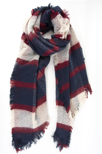 Navy and Burgundy Tartan Scarf