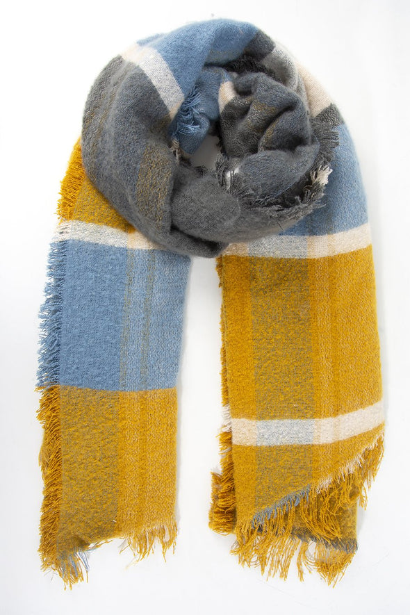 Mustard Grey Blue Checkered Blanket Scarf