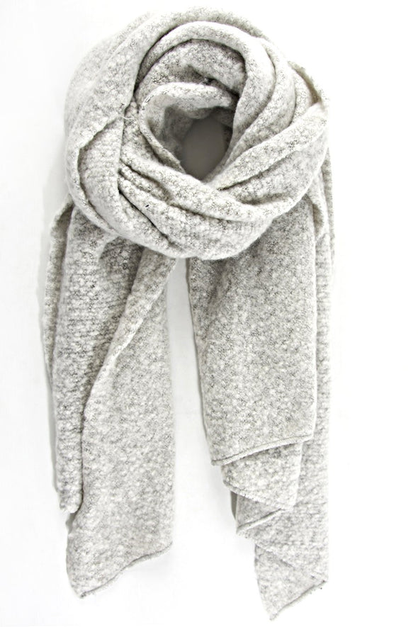 Light Grey Textured Asymmetric Scarf