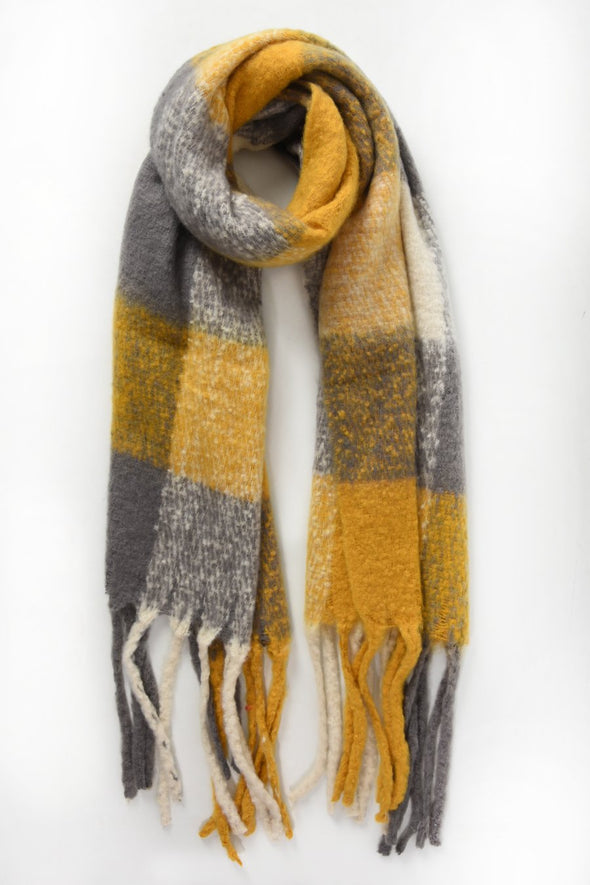 Mustard, Grey and Cream Plaid Tassel Scarf