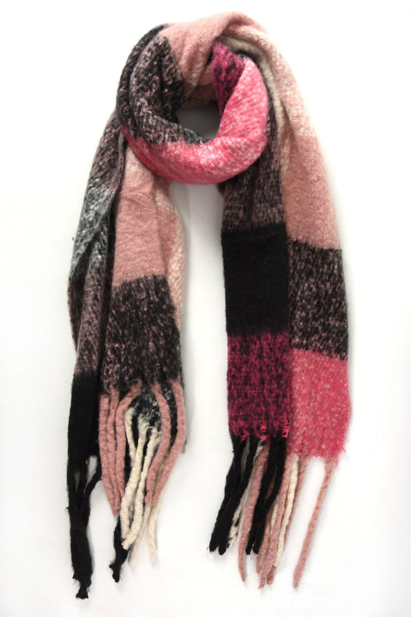 Pink, Black and Cream Plaid Tassel Scarf