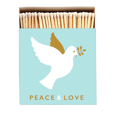 Peace and Love Luxury Matches in Letterpress Printed Box