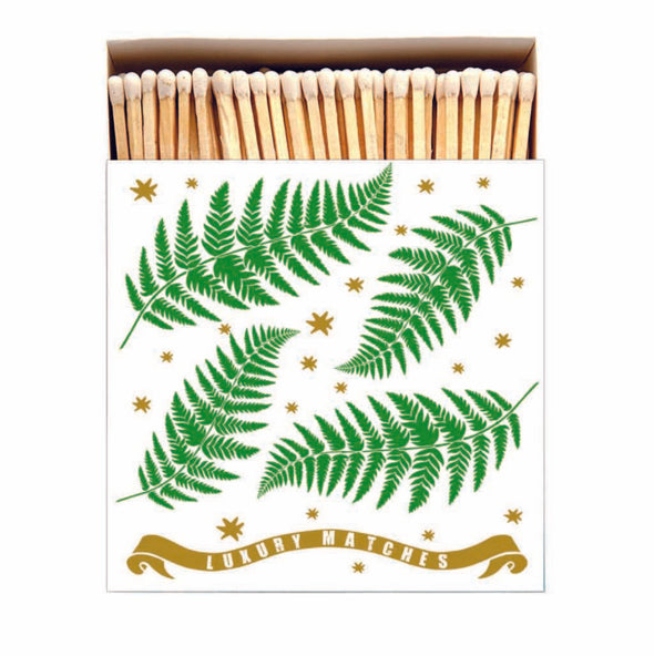 Fern and Gold Luxury Matches in Letterpress Printed Box