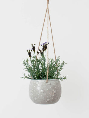 Grey Enamel Hanging Planter