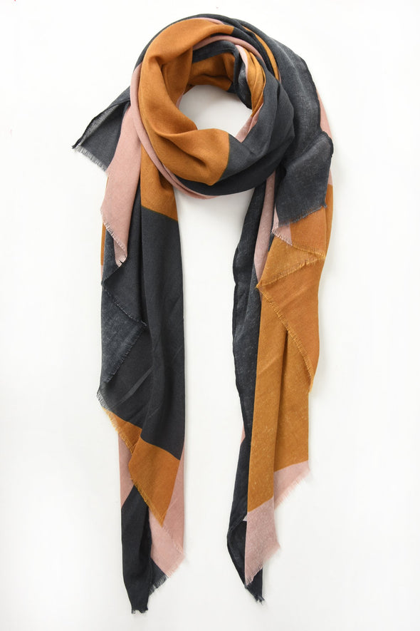 Mustard, Pink and Grey Colour Block Scarf
