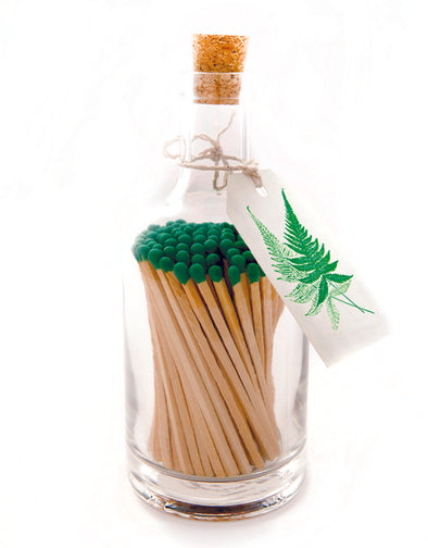 Fern Design Luxury Glass Jar Matches