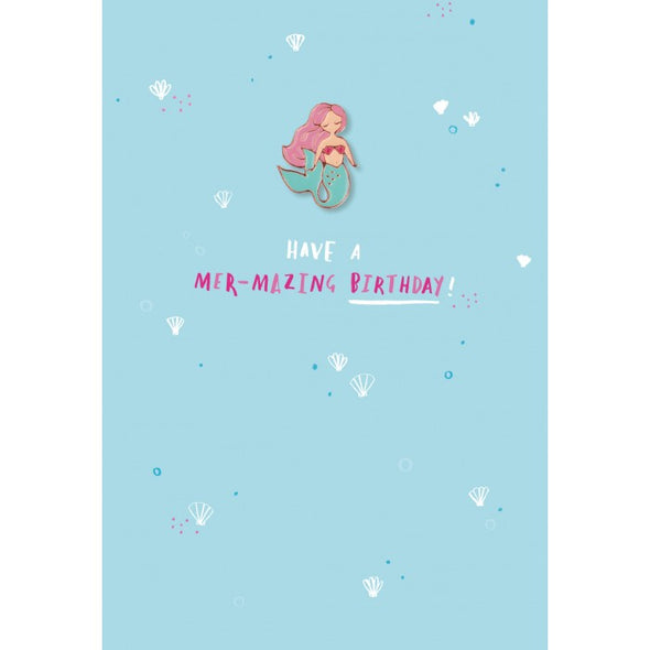 Birthday Card - Mermaid Enamel Pin 'Mer-mazing Birthday' Card