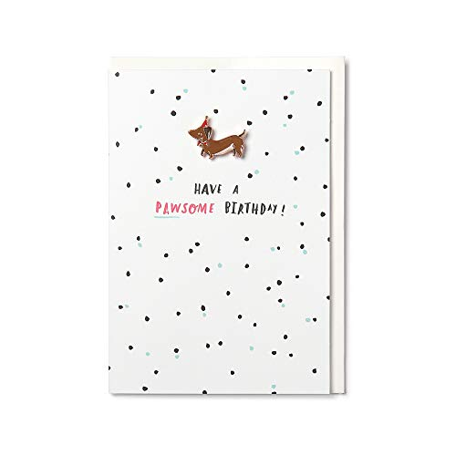 Birthday Card - Dachshund Enamel Pin 'Pawsome Birthday' Card