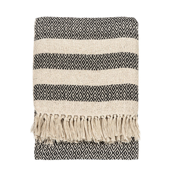 Scandi Boho White Tassel Blanket Throw