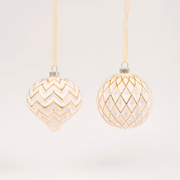 Gold and White Geometric Bauble