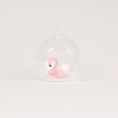 Flamingo Snowy Scene Open Bauble