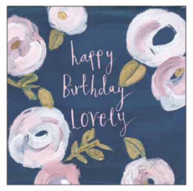AV Navy Floral Birthday Card