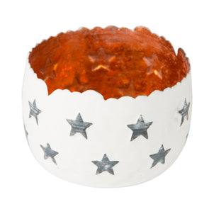 Festive Star Tealight Holder With Warm Metal Interior