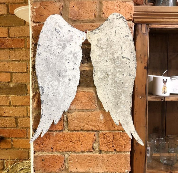 Rustic Metal Angel Wings Wall Art