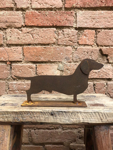 Rustic Metal Dachshund on Stand