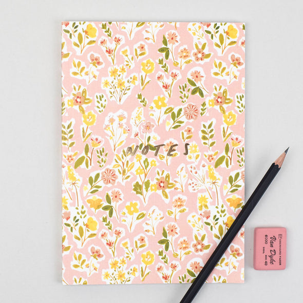 Blush Floral Linen Notebook