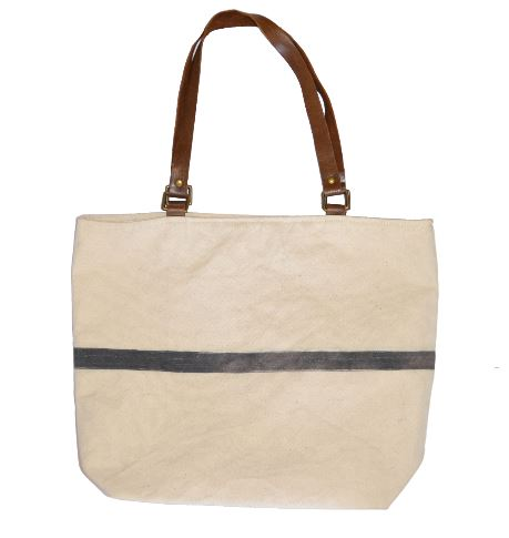 Canvas Shopper Bag with Leather Handles