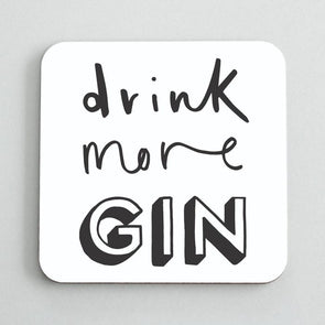 Set of 2 Drink More Gin Coasters