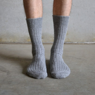 Alpaca Grey Short Boot Socks