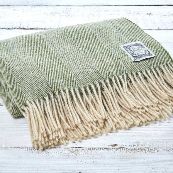 Tolly McRae Essential Herringbone Wool Throw Village Green