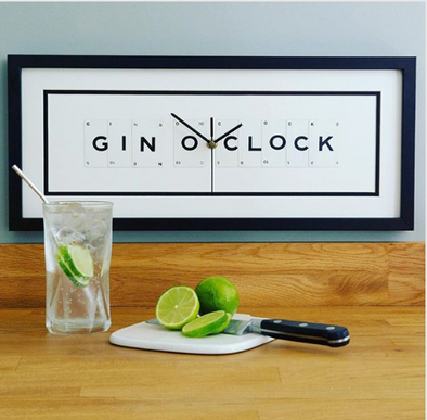 Vintage Playing Cards- 'Gin O'clock' Frame Clock