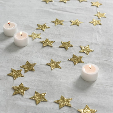 Gold Christmas Stars Garland