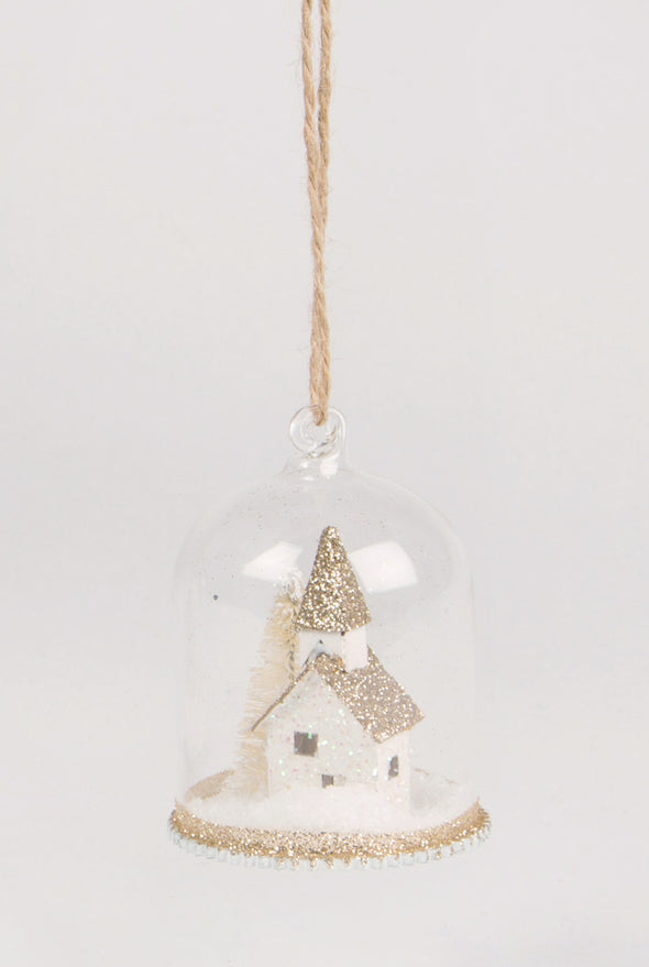 Gold Glitter House Snow Globe Dome Bauble