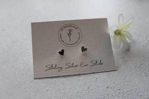 Handmade Heart Silver Stud Earrings