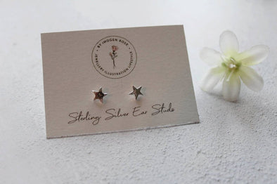 Handmade Star Silver Stud Earrings