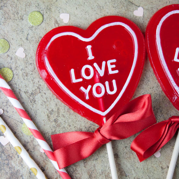 "Strawberry Champagne – ""I love you"" Heart Shaped Lollipop"
