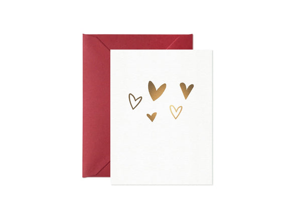 Mini Gold Hearts Card