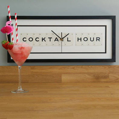 Vintage Playing Cards- 'Cocktail Hour' Frame Clock