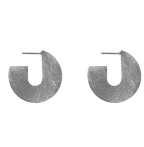 Scratched Metal Abstract Earrings Silver