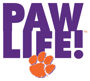 PAWLIFE! Vertical with Paw - Clemson Decal - PAWLIFESTORE