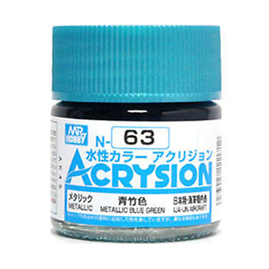 MR. HOBBY ACRYSION WATER BASED COLOR N-63 (METALLIC BLUE GREEN) 10ml