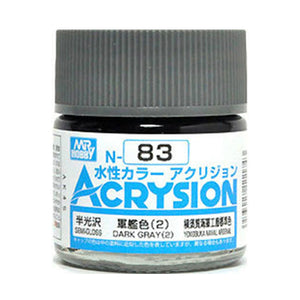 MR. HOBBY ACRYSION WATER BASED COLOR N-83 (SEMI GLOSS DARK GRAY 2) 10ml