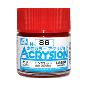 MR. HOBBY ACRYSION WATER BASED COLOR N-86 (GLOSS RED MADDER) 10ml