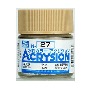 MR. HOBBY ACRYSION WATER BASED COLOR N-27 (SEMI GLOSS TAN) 10ml
