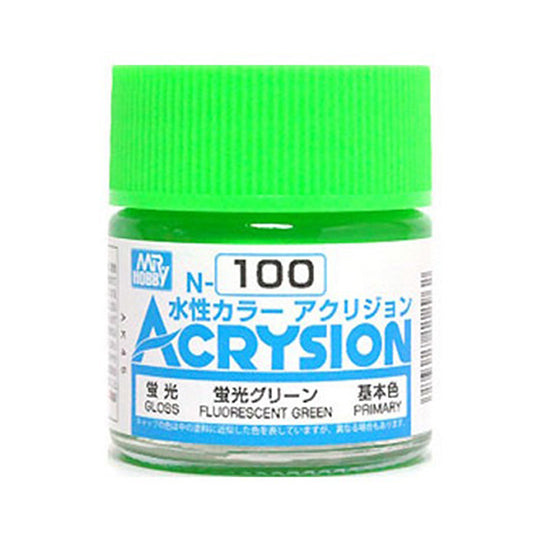 MR. HOBBY ACRYSION WATER BASED COLOR N-100 (GLOSS FLURESCENT GREEN) 10ml