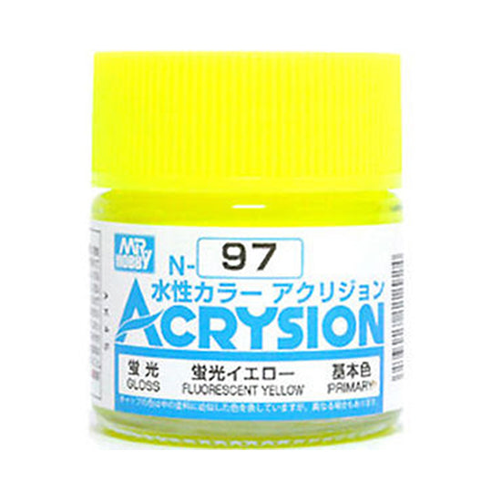 MR. HOBBY ACRYSION WATER BASED COLOR N-97 (GLOSS FLURESCENT YELLOW) 10ml