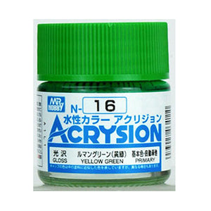 MR. HOBBY ACRYSION WATER BASED COLOR N-16 (GLOSS YELLOW GREEN) 10ml