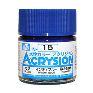 MR. HOBBY ACRYSION WATER BASED COLOR N-15 (GLOSS BRIGHT BLUE) 10ml