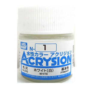 MR. HOBBY ACRYSION WATER BASED COLOR N-1 【GLOSS WHITE】10ml