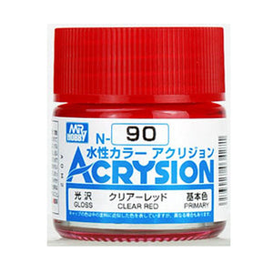 MR. HOBBY ACRYSION WATER BASED COLOR N-90 (GLOSS CLEAR RED) 10ml