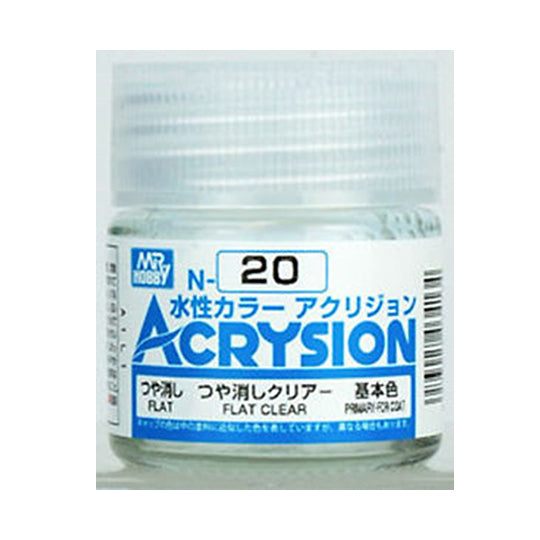 MR. HOBBY ACRYSION WATER BASED COLOR N-20 (FLAT CLEAR) 10ml
