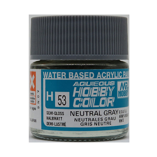 MR. HOBBY AQUEOUS COLOR H-053 (SEMI GLOSS NEUTRAL GRAY) 10ML