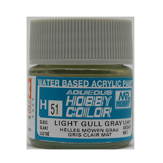 MR. HOBBY AQUEOUS COLOR H-051 (GLOSS LIGHT GULL GRAY) 10ML