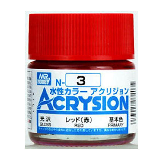 MR. HOBBY ACRYSION WATER BASED COLOR N-3 【GLOSS RED】10ml
