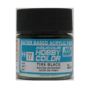 MR. HOBBY AQUEOUS COLOR H-077 (FLAT TIRE BLACK) 10ML