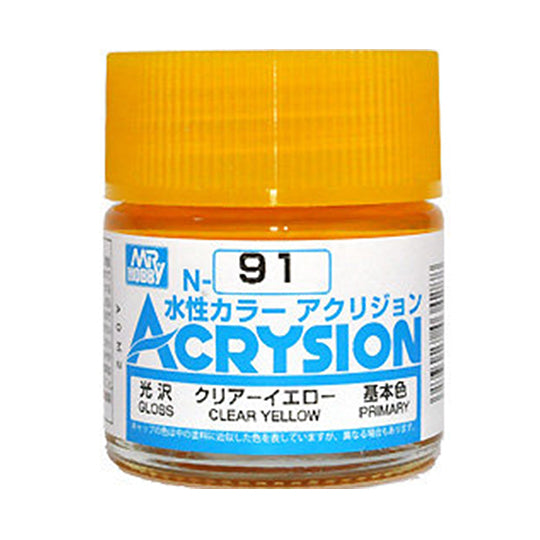 MR. HOBBY ACRYSION WATER BASED COLOR N-91 (GLOSS CLEAR YELLOW) 10ml